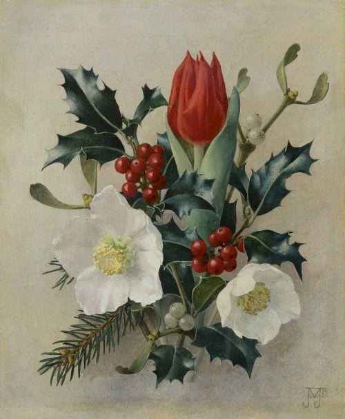 Ян Voerman мл.  (Голландский, 1890-1976) - Рождественский натюрморт, холст, масло, 25 х 21 см.