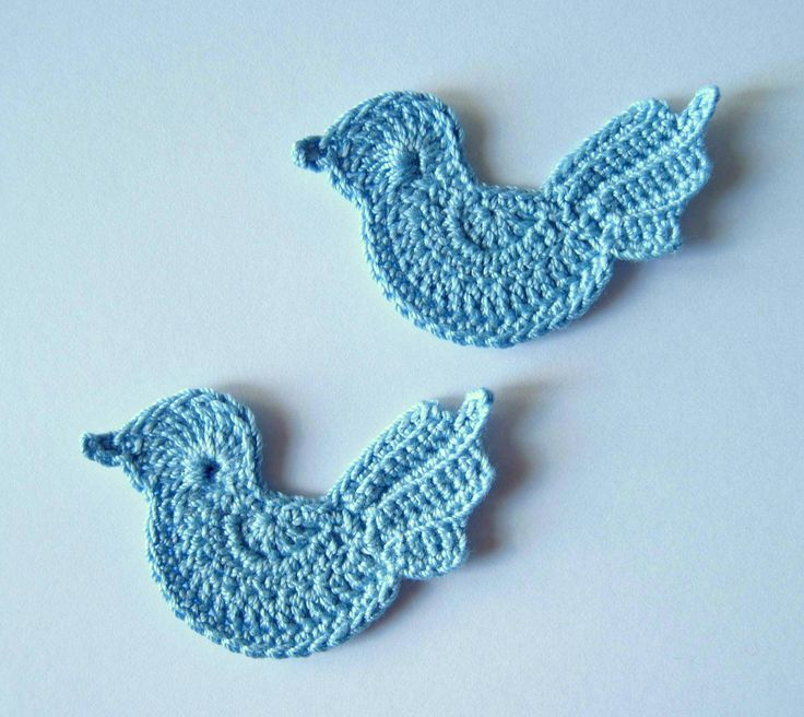 Crochet Blue Birds Applique, Baby Boy Embellishment. $4.80, via Etsy.