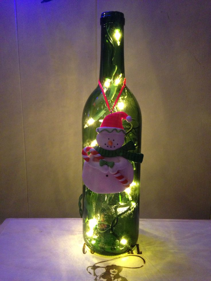 String Lights In Wine Bottles : No drilling required! Just one string of lights & a wine bottle Winery Dweller Pinterest ...