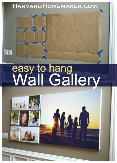 Have your favorite pictures printed on canvases and create a meaningful wall gallery in your home.  This post also shows you how to hang the collection with ease the first time around.  #gallery #canvas #harvardhomemaker