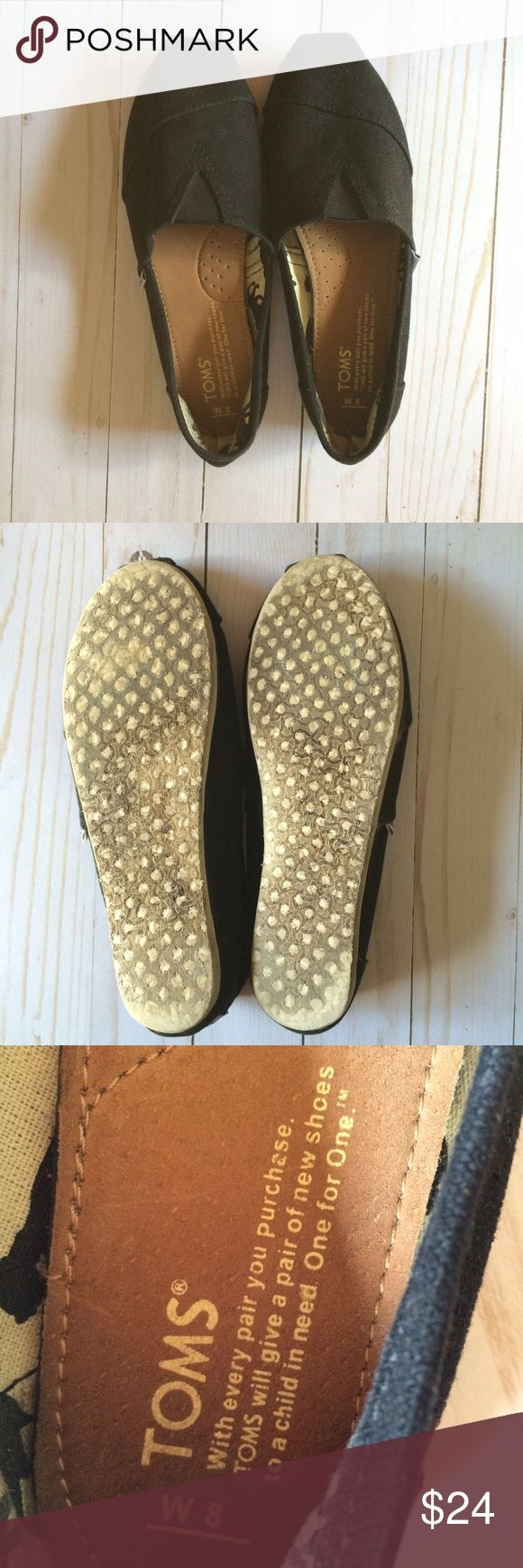 TOMS Classic Black Slip On Canvas Espadrilles 8W Previously used and show signs of wear. A bit dirty on the inside. Please see pictures TOMS Shoes Espadrilles