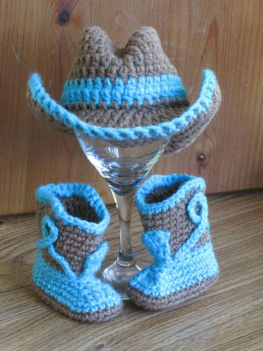 I like the color combo.   Newborn Baby Crochet Cowboy Hat Boots Photo Prop | eBay Not a pattern just a photo.