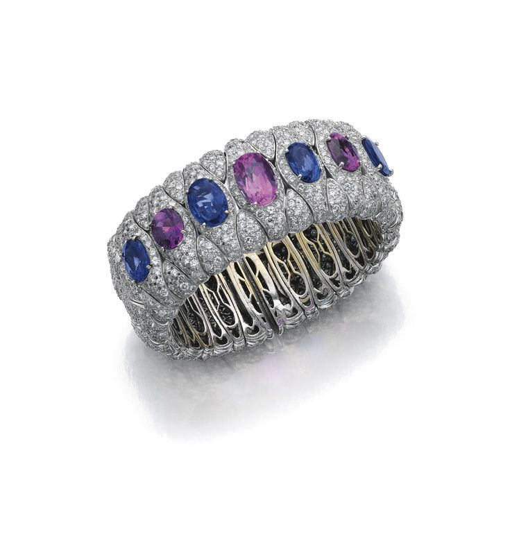 sapphire pink sapphire and diamond bangle bulgari the flexible cuff composed of pavset links accented to the front with alternating oval