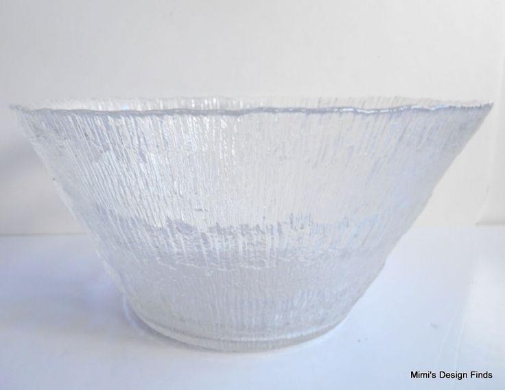 "IITTALA Solaris Crystal Salad Serving Bowl 9.5"" x 5""H Tapio Wirkkala Finland EUC"