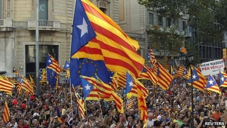 BBC News: Huge turnout for Catalan independence rally. Some 1.5 million people have been taking part in Catalonia's annual independence rally in Barcelona, according to police. Tens of thousands of people poured into the city waving the region's independence flag and brandishing the colours red and yellow. This year's march aimed to be the biggest ever - and a protest against the Spanish government's tax laws. Catalonia wants Madrid to review its tax agreement and provide a bailout.