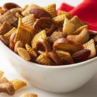 The Original Chex™ Party Mix // This is a holiday staple in my family! I've never been fond of the microwave directions, though. A 250°F oven for an hour, stirring every 15 minutes, is the way to go. Always smells amazing.