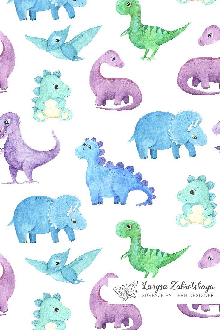 Watercolor Dinosaurs Collection Dinosaur Wallpaper Dinosaur Illustration Dinosaur Background