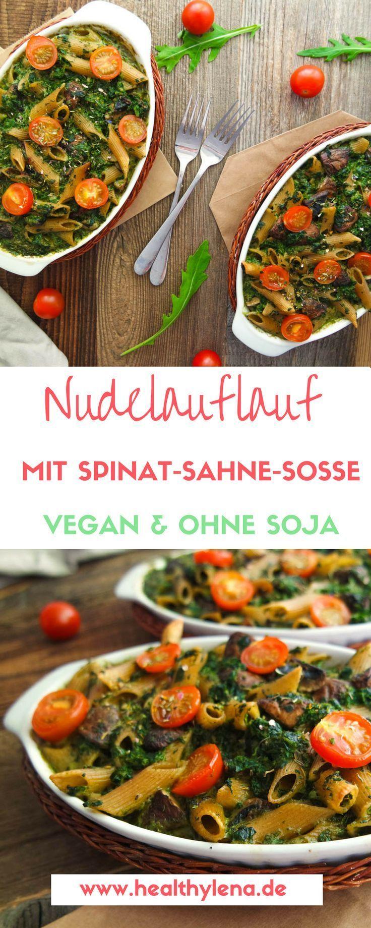 Nudelauflauf mit veganer Spinat-Sahne-Soße