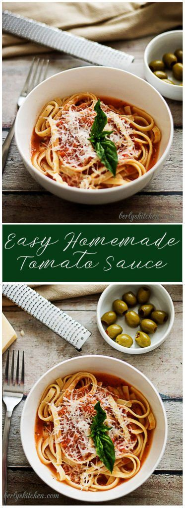 Basil, garlic, and tomatoes blended with olive oil are the main ingredients in this homemade tomato sauce that almost anyone can prepare.  via @berlyskitchen