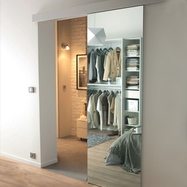 Porte coulissante miroir Reflecto 83 cm + système en applique Kidal - CASTORAMA