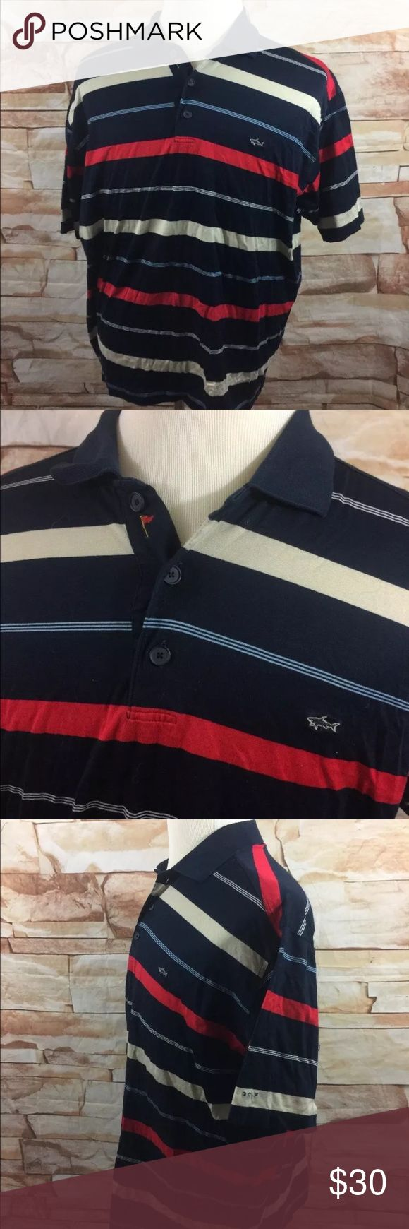 """Paul & Shark Yachting Golf Polo Shirt Paul & Shark Yachting  Made in Italy  Polo Shirt  Mens 3XL   Measurements Approximate: Shoulder to Shoulder - 22"""" Armpit to Armpit - 27"""" Sleeve Length - 10"""" Shirt Length - 29""""  Paul & Shark sizes run small. See measurements! Paul & Shark Shirts Polos"""