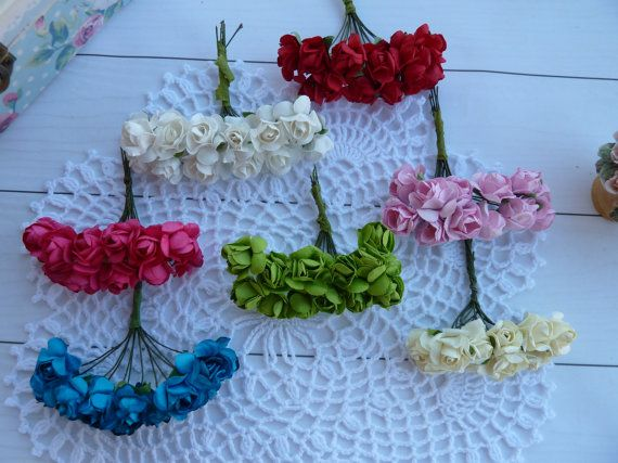 1bunch12pcs  paper flowers for scrapbooking от VitasjaCrochet