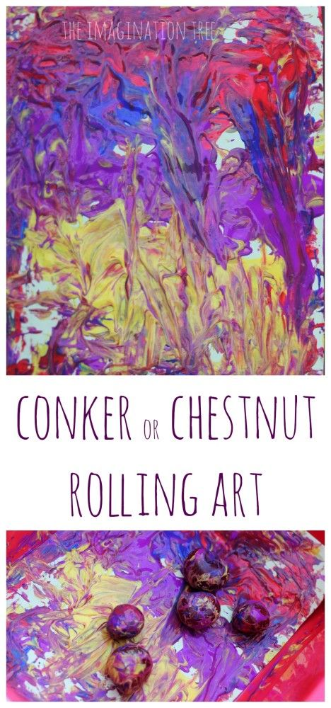 Conker or chestnut rolling art! Gross motor fun and creativity combined