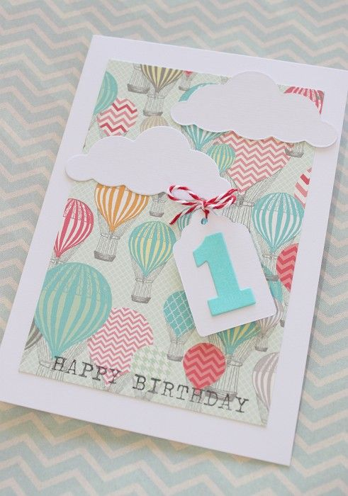 birthday Card Hot Air Balloons and Clouds - by LittleThings on madeit