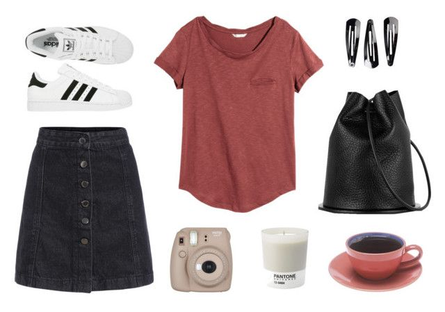 simple by alenaganzhela on Polyvore featuring мода, H&M, NLY Accessories, Pantone and adidas