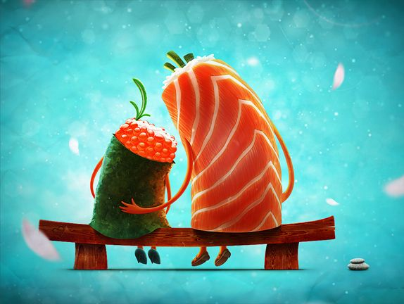 Sweet sushi love by Aleksey Baydakov http://www.behance.net/gallery/illustration-mix/3343993