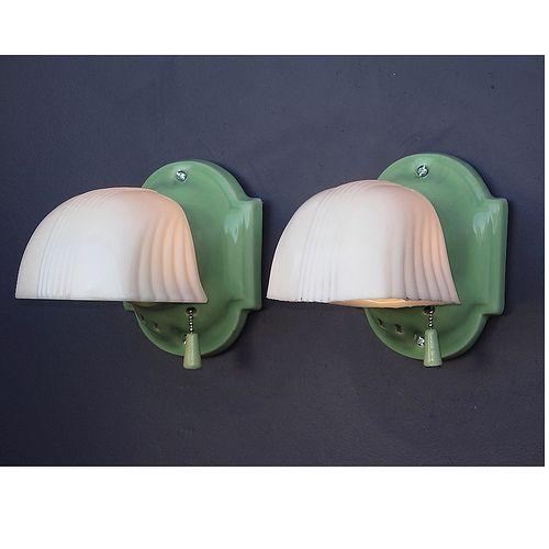 Vintage Green Glass Light Fixture: 157 Best Images About Vintage Bathroom Light Fixtures On