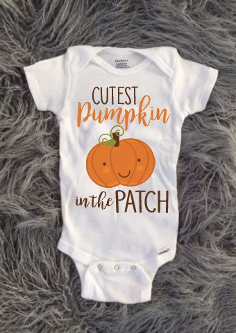Baby Halloween Shirt, Kids Halloween Shirt, Baby pumpkin, Cutest pumpkin in the patch, newborn, new baby, october baby by KyCaliDesign on Etsy