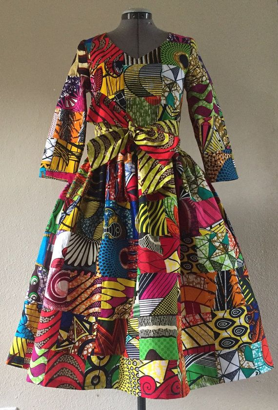 This midi dress is crafted from 100% cotton African Wax Fabrics. This is not a printed fabric but rather a fabric created from many different prints in a patchwork technique. This dress is very special and unique and I believe qualifies as art wear. Care should be taken with this dress by hand washing gently and drying flat. Follow with a thorough hot iron. It will turn heads and amaze wherever you go. Its a great piece for a day at the museum as well as date night! It can be dressed up or…