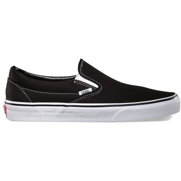 Vans Slip-On ($50) ❤ liked on Polyvore featuring shoes, sneakers, black, black slip on shoes, black sneakers, black slip on sneakers, low top canvas sneakers and black slip-on shoes