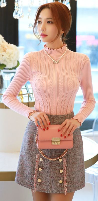 StyleOnme_Gold Button Tassel Detail Mini Skirt #pink #cute #sweet #pretty #feminine #goldbutton #skirt #koreanfashion #kstyle #kfashion #seoul #tassel #girly #dailylook