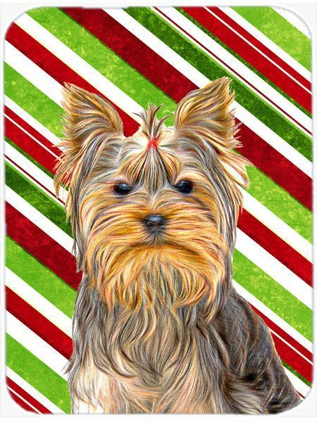 Candy Cane Holiday Christmas Yorkie / Yorkshire Terrier Mouse Pad, Hot Pad or Trivet KJ1170MP