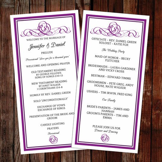 37 best DIY Wedding Programs images on Pinterest Diy wedding - wedding program template