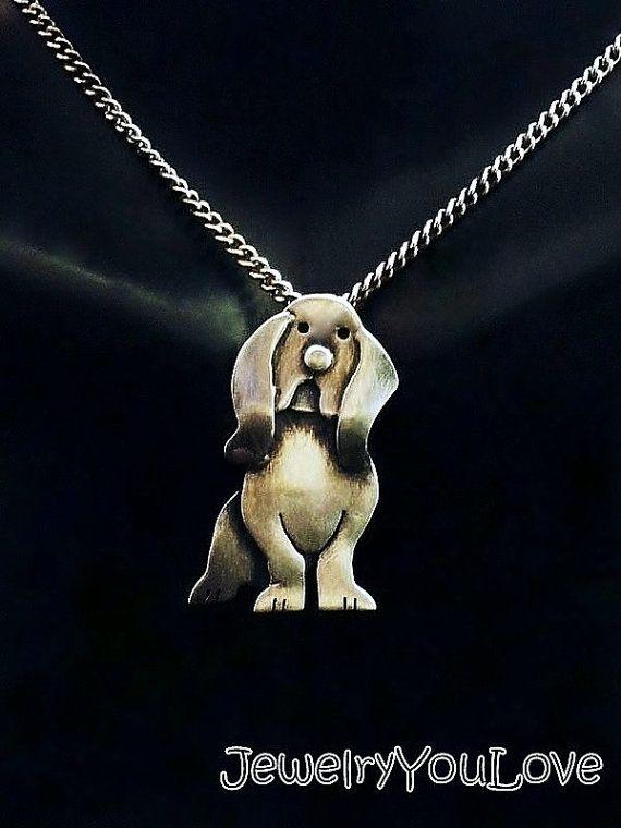 Collar de plata esterlina Basset Hound Barney por JYLbyPeekaliu