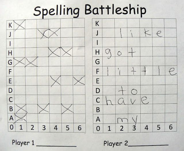 BATTLESHIP SPELLING PRACTICE~ A 2-player game where each student inserts the word list in to spaces going across.  Players take turns guessing coordinates. If they miss, they mark it on their board. If they hit a letter, they keep guessing until they miss. If they sink a word, the player marks it off of his list. The goal of the game is to sink all of your opponent's words.  Fun and great practice!