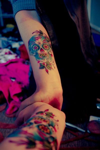 sugar skull tattoo. i want something similar.. but not quite as big.