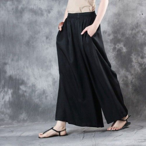 Black Vintage Silk Pants Casual Draping Wide Leg Pantsthis Dress