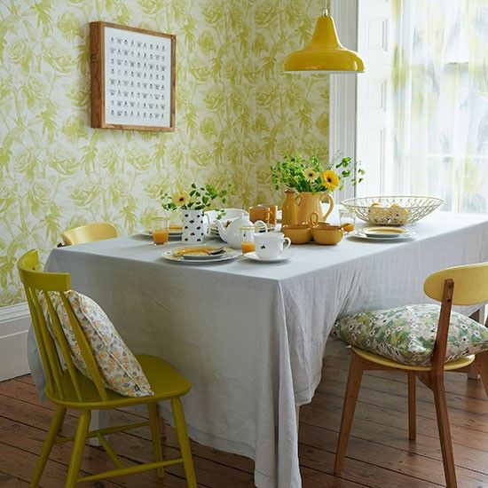 Yellow retro dining room with floral wallpaper | Dining room decorating