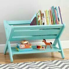 Spray paint wooden dish rack, and you got a book shelf.
