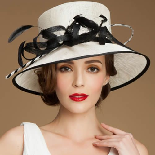 d69743c1ee830 Designer Women Off White Black Linen Dress Derby Hats for Church SKU-158481