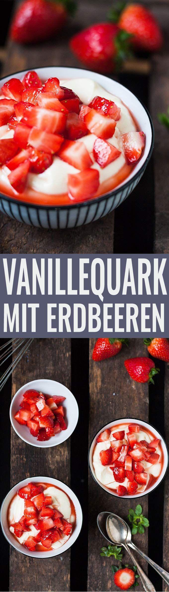 Cremigster Vanillequark mit Erdbeeren aus vier Zutaten – #aus #Cremigster #einfa…