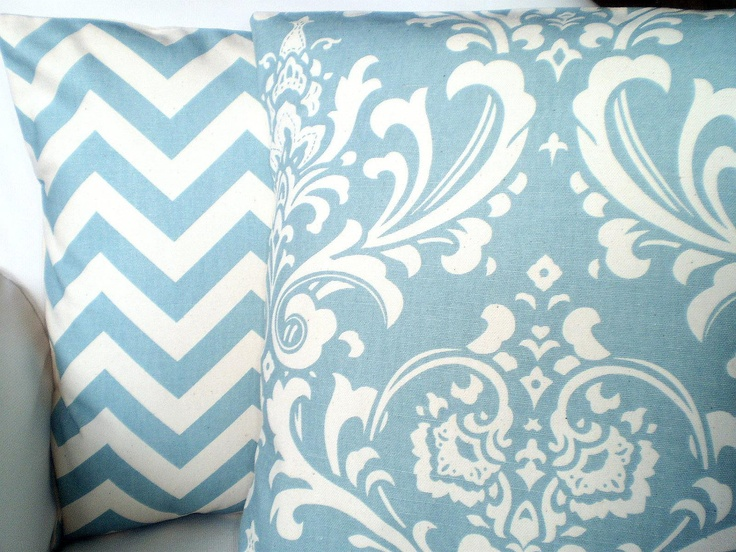 Blue Pillow Covers Decorative Throw Pillow Cushion Village Blue Cream Damask Zig Zag Chevron ...