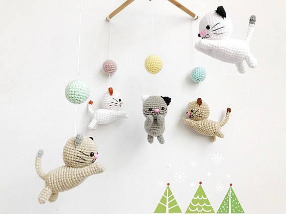 Crochet Baby Mobile Meow Meow Kitten Cat Baby Mobile Cat Crochet