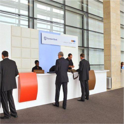 Custom designed registration desk for event #events #conference #design #rubyoriginal