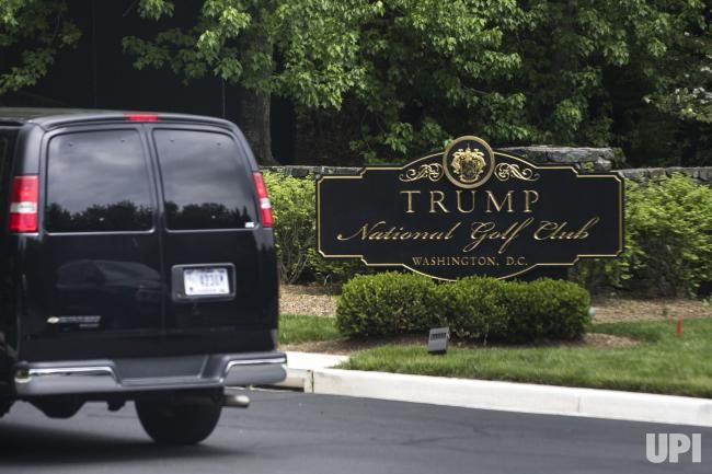 U.S President Donald J. Trump's motorcade arrives at the Trump National Golf Club in Sterling, Virginia, on April 30, 2017. In his first…