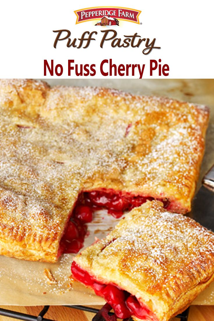 Puff Pastry No Fuss Cherry Pie Recipe. This simple square pie doesn't even require a special pie dish or rolling pin! Simply unfold Puff Pastry onto a baking sheet, top with your favorite fruit filling (we especially love Cherry in the spring; but you can use blueberry, apple or even lemon pie filling). Top with second sheet of Puff Pastry, seal the edges, brush with egg wash and bake until golden brown. A sprinkle of confectioners' sugar makes this absolutely irresistible.