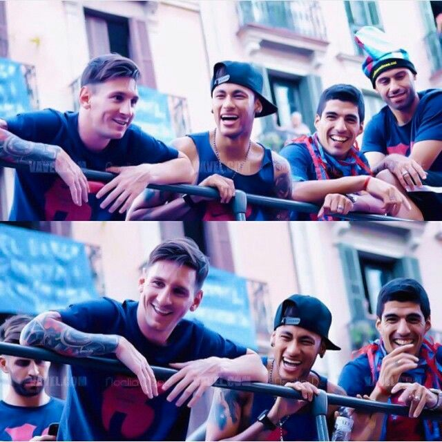 Ney is always laughing, Messi & Suarez have weird but cute laughs Messi, Neymar, Suarez #MSN #BarcaBoys