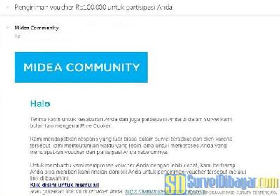 Konfirmasi hadiah dari Midea Community | SurveiDibayar.com