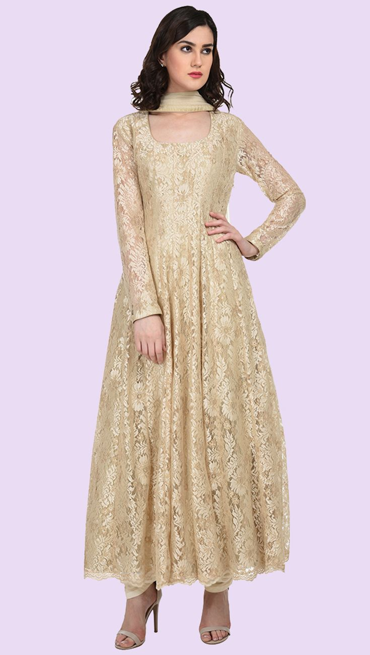 Champagne-Gold Lace Anarkali Suit With Dupatta
