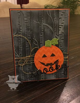 handmade Halloween card: Spooky! ... birch tree embossing folder background in grays ... happy face circle pumpkin focal point .. great card ... Stampin' Up!