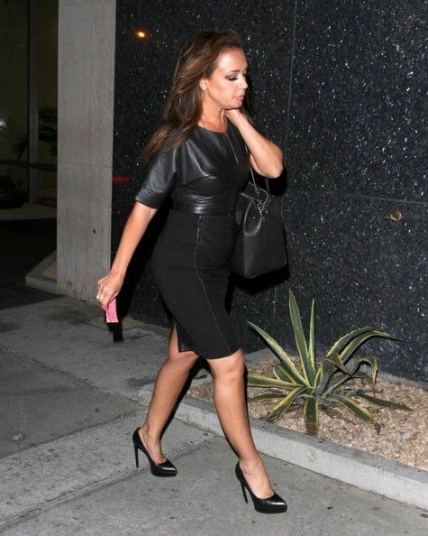 Leah Remini Celebs enjoy a night out at Bootsy Bellows to celebrate Cheryl Burke's upcoming birthday in West Hollywood, California on April 28, 2014.