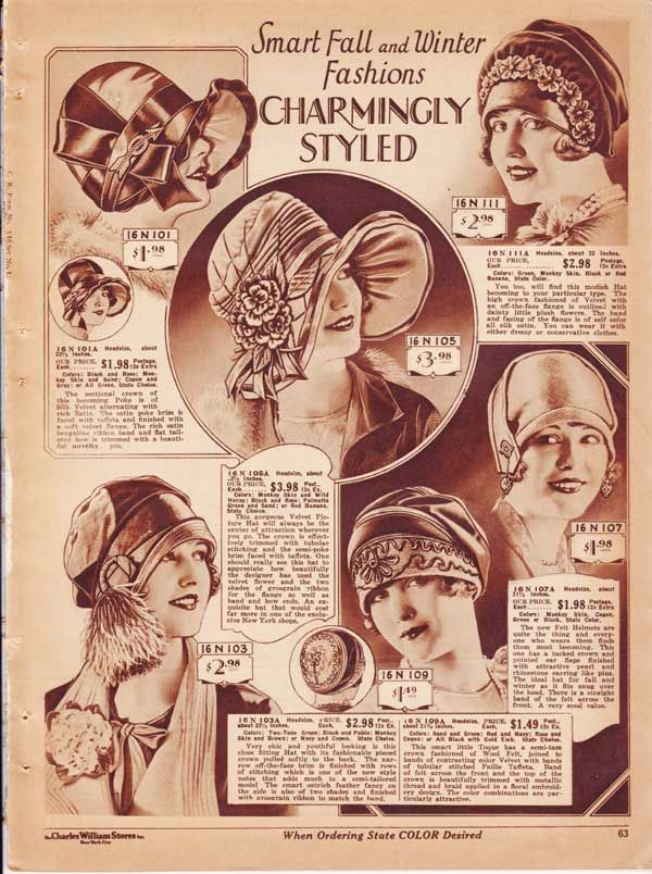 Womens Hats From A 1927 Catalog Vintage 1920S Fashion -6899
