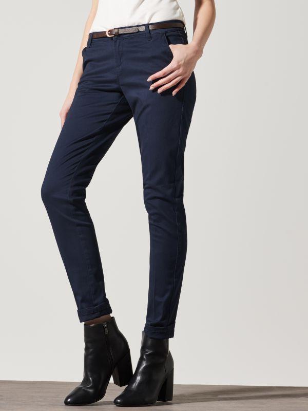 FOUSE / Spodnie CHINO z paskiem  QH455-59X  97% BAWEŁNA, 3% ELASTAN