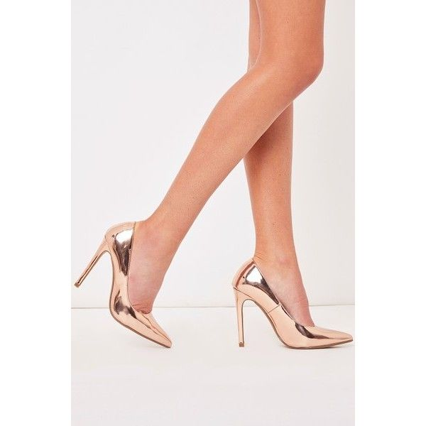 Faye Rose Gold Metallic Court Shoe Heels ($27) ❤ liked on Polyvore featuring shoes, pumps, rose shoes, rose gold metallic shoes, metallic gold pumps, rose pumps and metallic gold shoes