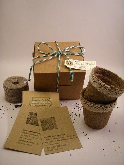 Caja Kraft  para cultivo flores. La semilla es el principio de una amistad, de una vida, de un proyecto ....