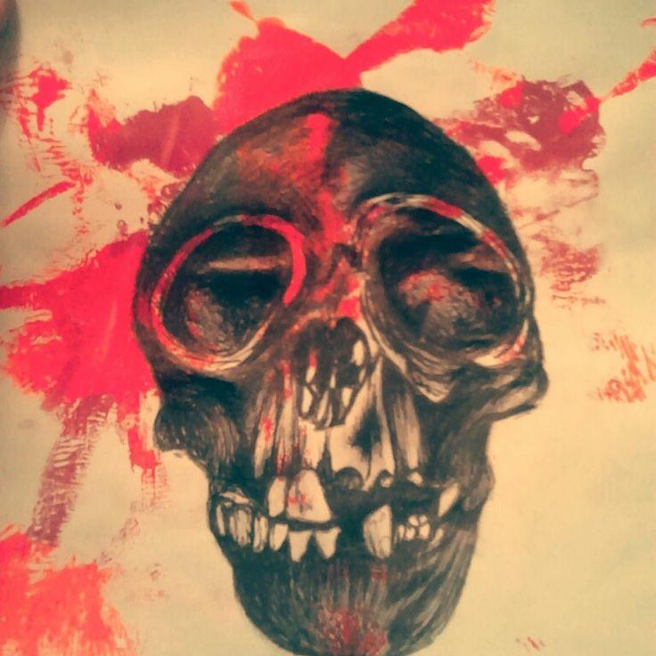 Primate skull biro drawing - Molly Burnip, www.mollyburnipart.com
